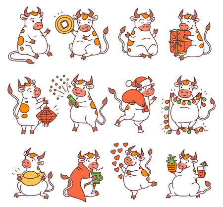 Ox set with Chinese new year symbols. Cute different bulls holds money and Chinese lanterns and lets off fireworks. Vector outline cartoon illustrations.