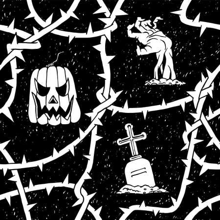 Halloween pumpkin and zombie seamless pattern with blackthorn branches thorns. Illusztráció