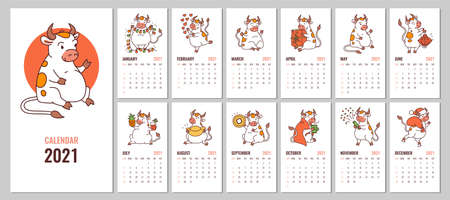 Vector editable design of 2021 calendar with cute white ox, cover, monthly pages