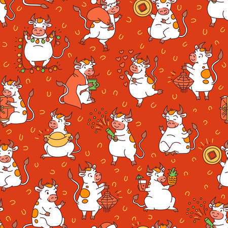 Vector red Christmas seamless pattern with set of chinese new year symbol metal ox