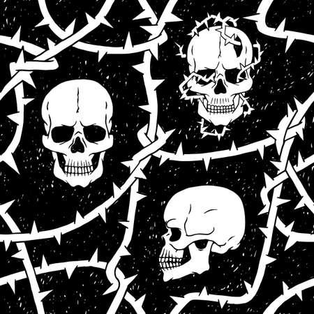 Human skulls and thorns branches seamless pattern. Horror mystic Halloween vector black white background. 矢量图像