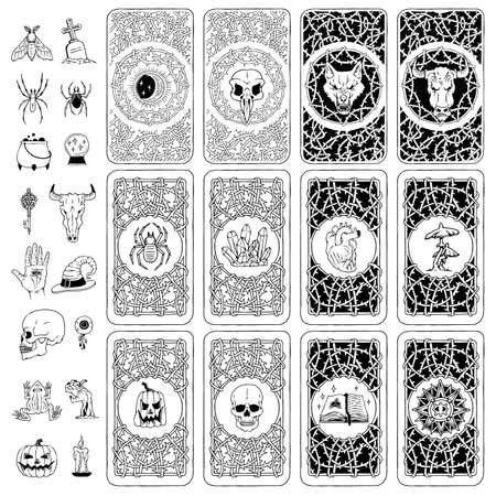 Vector set covers of playing or fortune telling cards of mystical, occult elements.  イラスト・ベクター素材