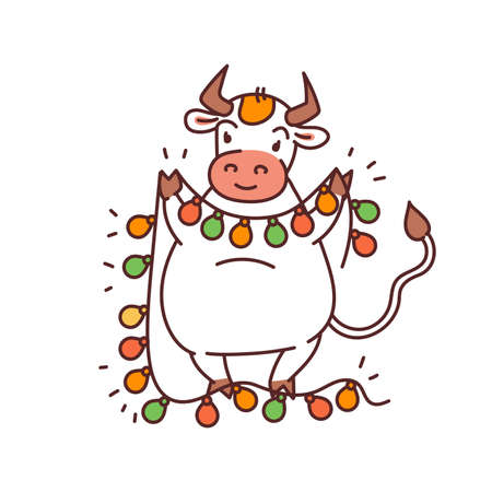 White metal bull with garland lantern - chinese new year symbol for kids stickers