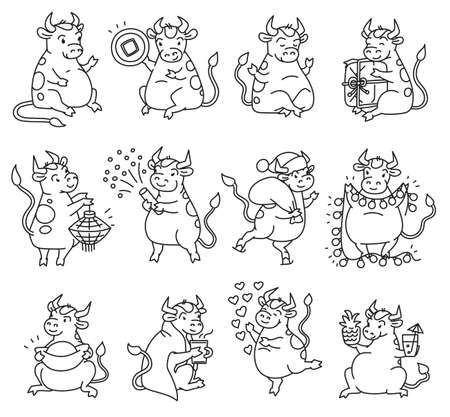 Ox set with Chinese new year symbols. Cute different bulls holds money and Chinese lanterns and lets off fireworks. Vector black white outline cartoon illustrations. Illusztráció