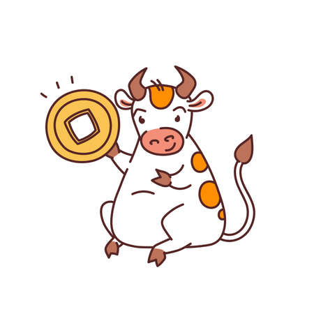 White metal bull with lucky coin - chinese new year symbol for kids stickers