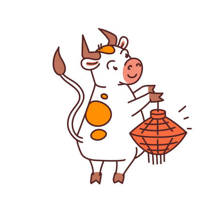 White metal bull with red lantern - chinese new year symbol for kids stickers
