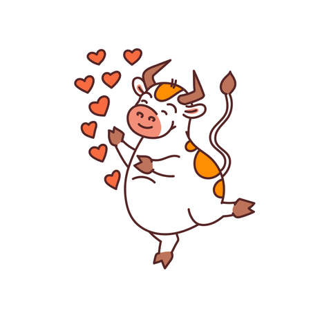 White lover bull - chinese new year symbol for kids stickers