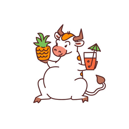 White bull with pineapple and cocktail - chinese new year symbol or logo for kids stickers