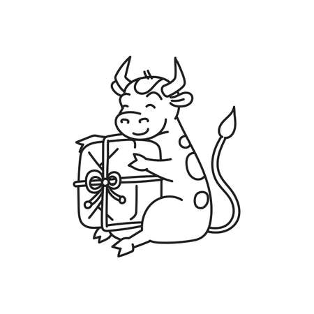 White metal bull sitting with gift - chinese new year symbol for kids stickers Illusztráció