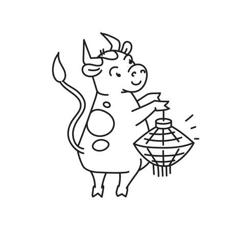 White metal bull with lantern - chinese new year symbol or logo for kids stickers