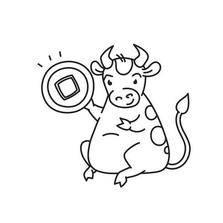 White metal bull with lucky coin - chinese new year symbol or logo for kids stickers Illusztráció