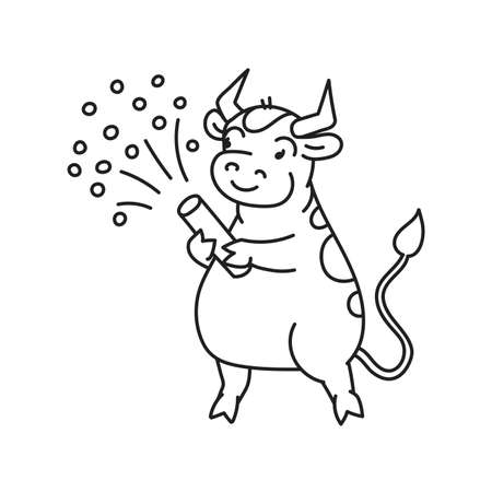White metal bull with firecracker - chinese new year symbol for kids stickers Illusztráció