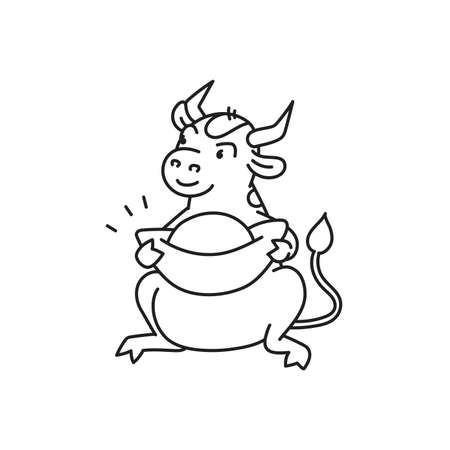 White metal bull with lucky chinese talisman - chinese new year symbol for kids stickers Illusztráció