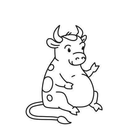 White metal bull - chinese new year symbol for kids stickers Illusztráció