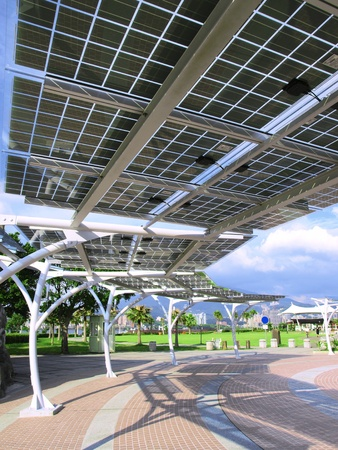 Solar power panel in park photo