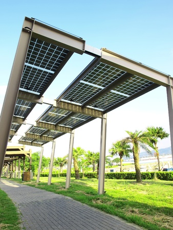 electric cell: Power solar panel in park
