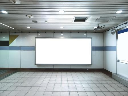 billboard blank: Blank billboard in underground passage