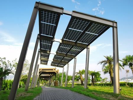 solar cell: Solar power panel in park