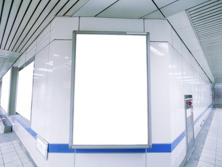 underground passage: Blank billboard in underground passage  Stock Photo