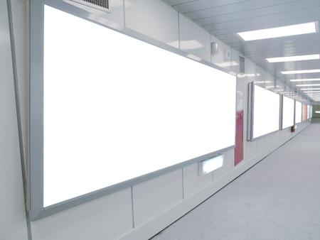 통로: Blank billboard in underground passage  스톡 사진