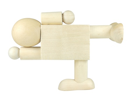 Wooden people posed as blank signpost photo
