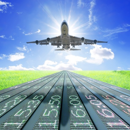 Airplane take off on flight schedule Stock Photo - 9657615