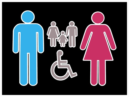 Isolated male and female sign         photo