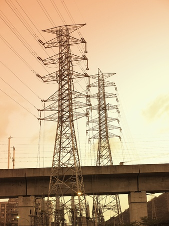 Sunset and electric towers photo