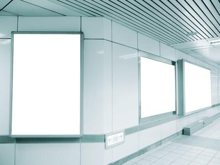 Blank billboard in underground passage  Stock Photo