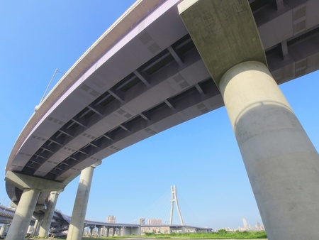 rapid steel: Highway viaduct in modern city Stock Photo