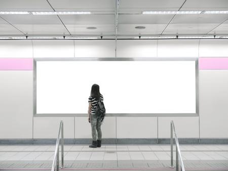Blank billboard in modern building photo