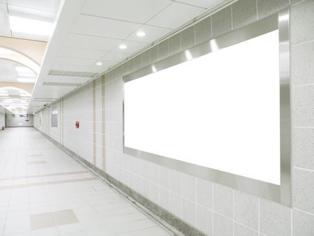 hallway: Blank billboard in underground passage