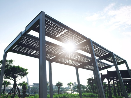 photovoltaik: Solar-Power Panel im Park Lizenzfreie Bilder