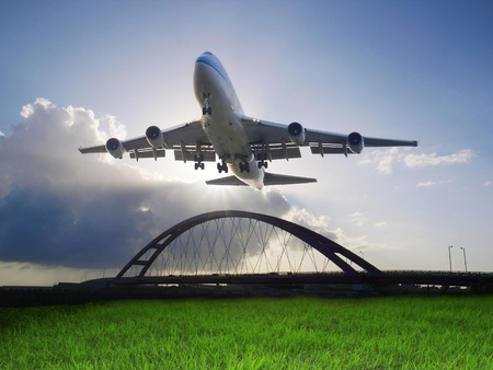 planos electricos: Avi�n aterrizaje Foto de archivo