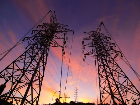 electric grid: Sunset and electric towers