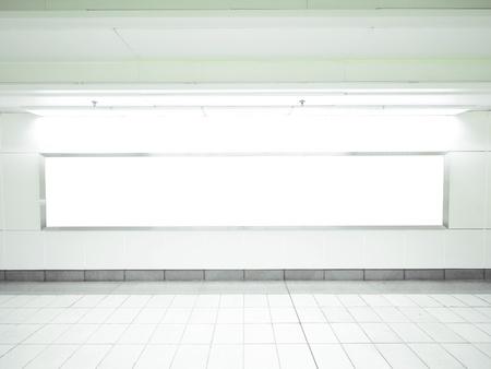 blank billboard: Blank billboard in underground passage
