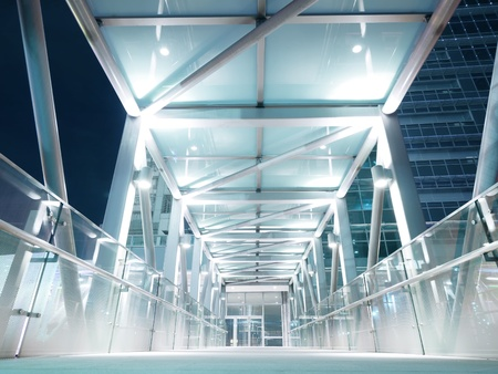 metal handrail: Bright elevated walkway