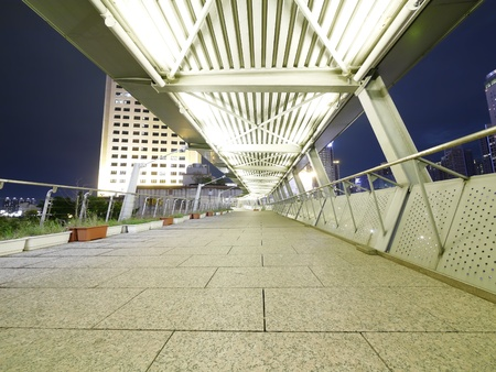 metal handrail: Elevated walkway in night