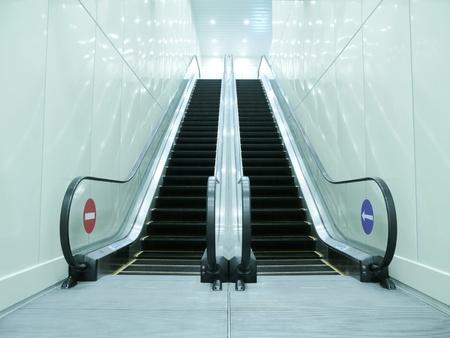 underground passage: Escalator in underground passage  Stock Photo
