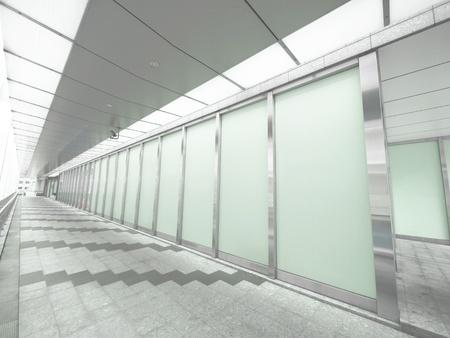 glass panel: Long walkway in modern building