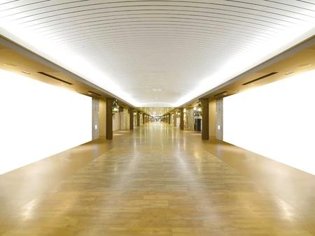shiny floor: Long wooden walkway in underground Stock Photo