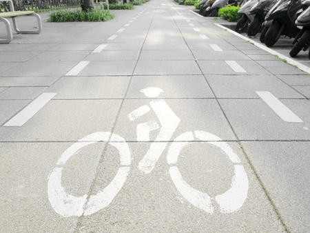 Bicycle way in sidewalk photo
