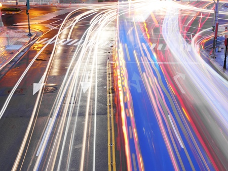 time lapse: Night traffic in city