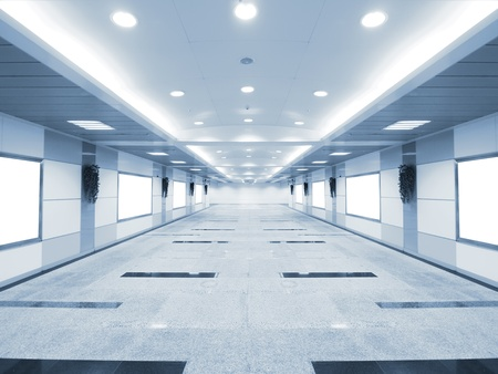 Long corridor in underground passage Stock Photo