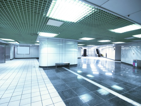 shiny floor: Underground passage in modern building Stock Photo