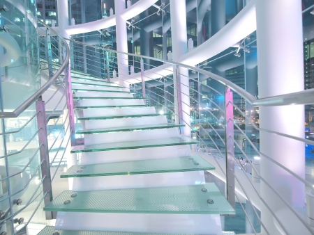 glass building: Staircase made by glass