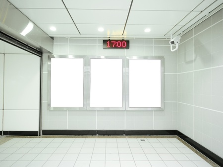 led: Three blank billboard in underground