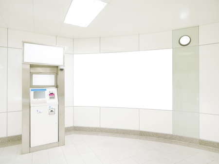 bank interior: Blank wall and automated teller machine Stock Photo