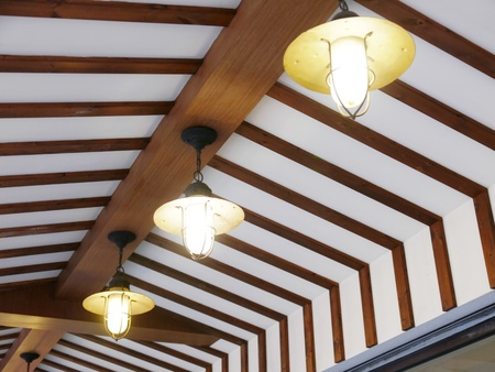 ceiling lamps: Lightbulb on ceiling