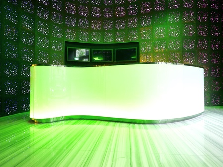 bar counter: Bright counter in modern building